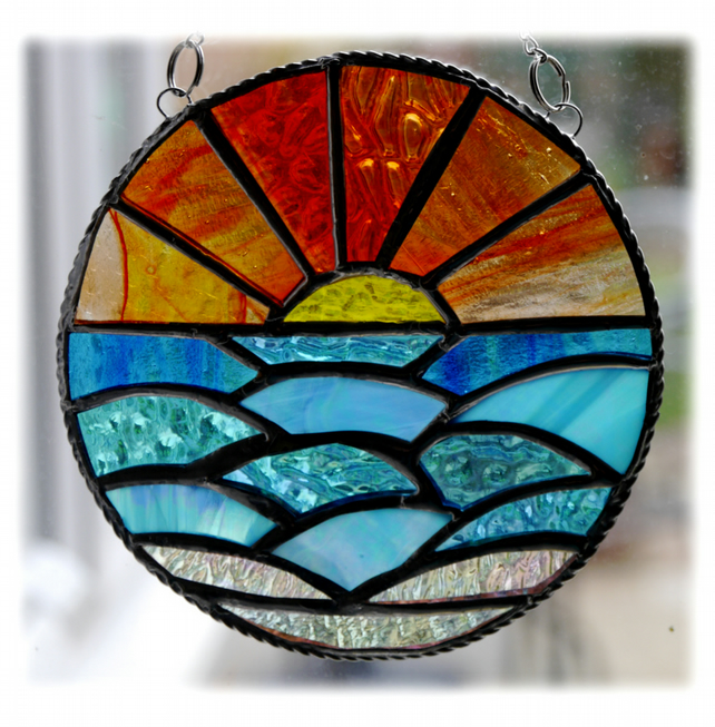 Sunset Ocean Waves Stained Glass Suncatcher 003