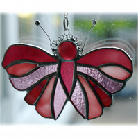 Cranberry Butterfly Suncatcher Stained Glass Handmade 081