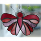 Cranberry Butterfly Suncatcher Stained Glass Handmade 080