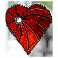 Swirled Heart Stained Glass Suncatcher 002