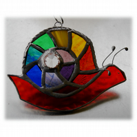Snail Suncatcher Stained Glass Handmade Rainbow 008