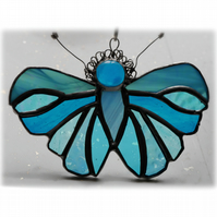 Teal Butterfly Suncatcher Stained Glass Handmade Turquoise 082