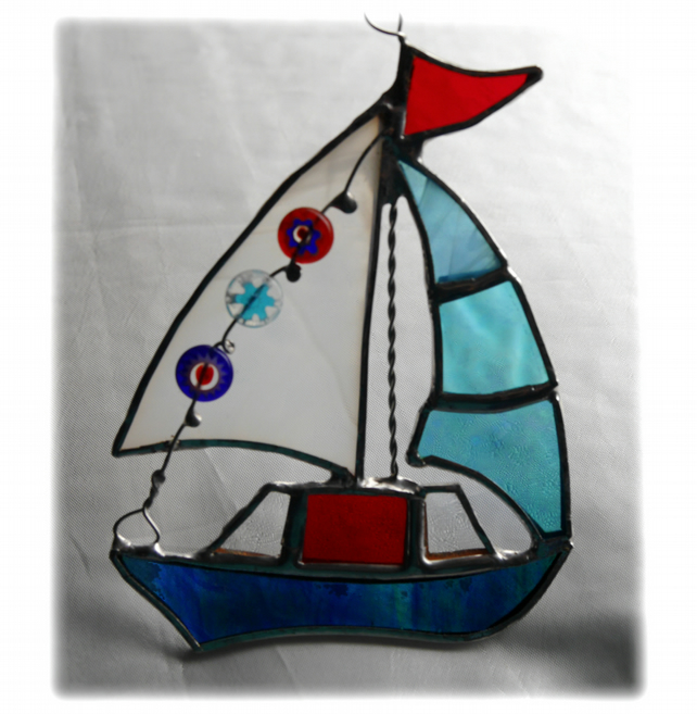 Boat Suncatcher Stained Glass Sailboat Yacht 059