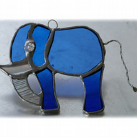 Elephant Suncatcher Stained Glass Blue 080