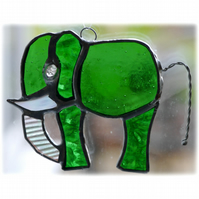 Elephant Suncatcher Stained Glass Green 081