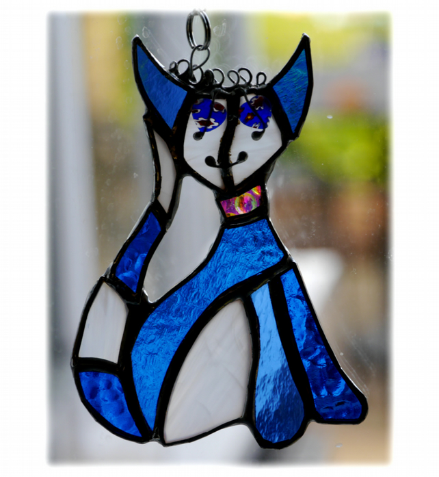 Arty Cat Suncatcher Stained Glass
