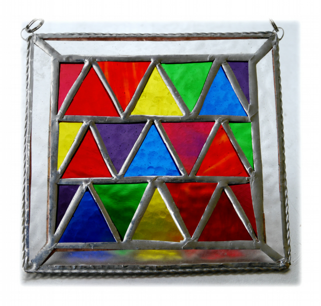 Triangles Stained Glass Suncatcher Rainbow