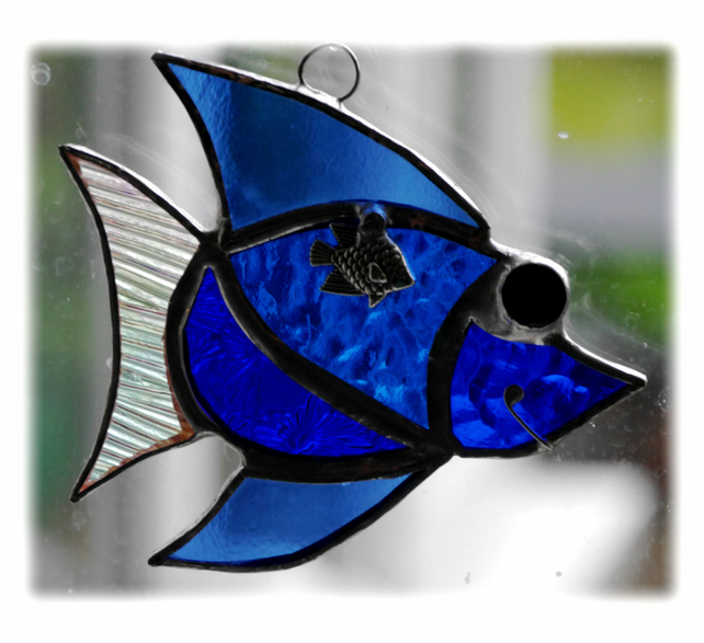 Fish Suncatcher Stained Glass Blue