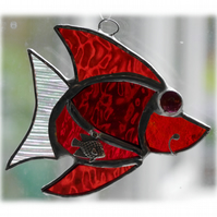 Fish Suncatcher Stained Glass Red