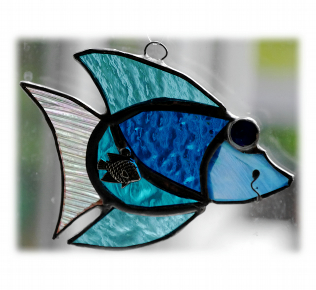 Fish Suncatcher Stained Glass Turquoise