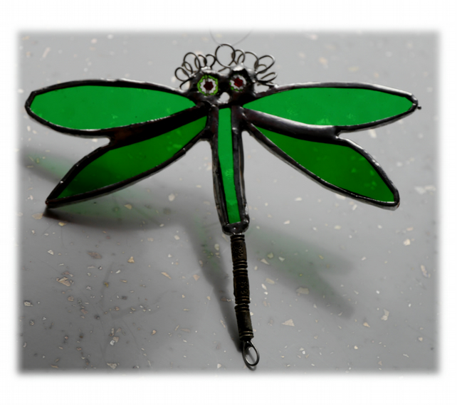 Dragonfly Suncatcher Stained Glass Green