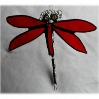 Dragonfly Suncatcher Stained Glass Red
