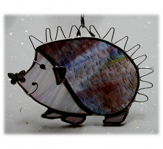 Hedgehog Suncatcher Stained Glass Handmade 028 Left