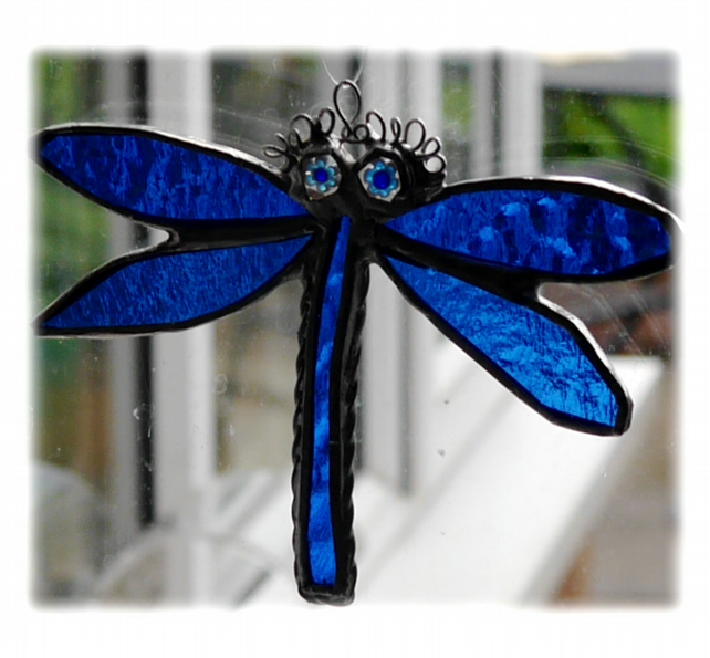 Dragonfly Suncatcher Stained Glass blue