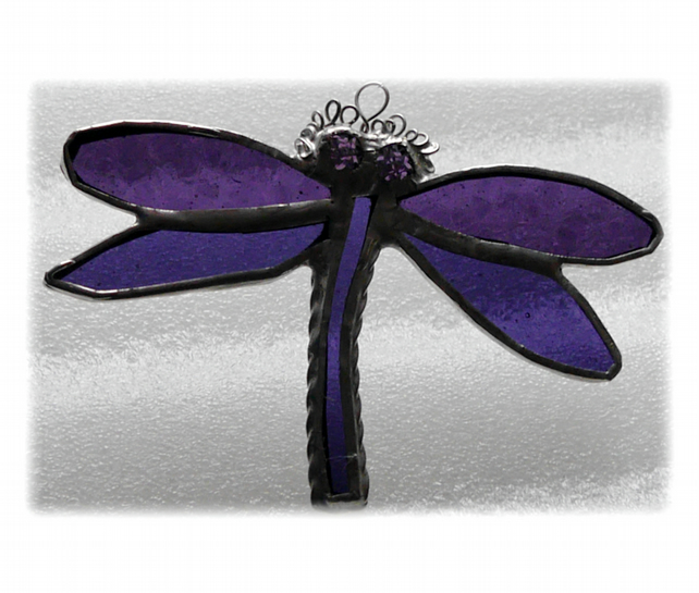 Dragonfly Suncatcher Stained Glass purple