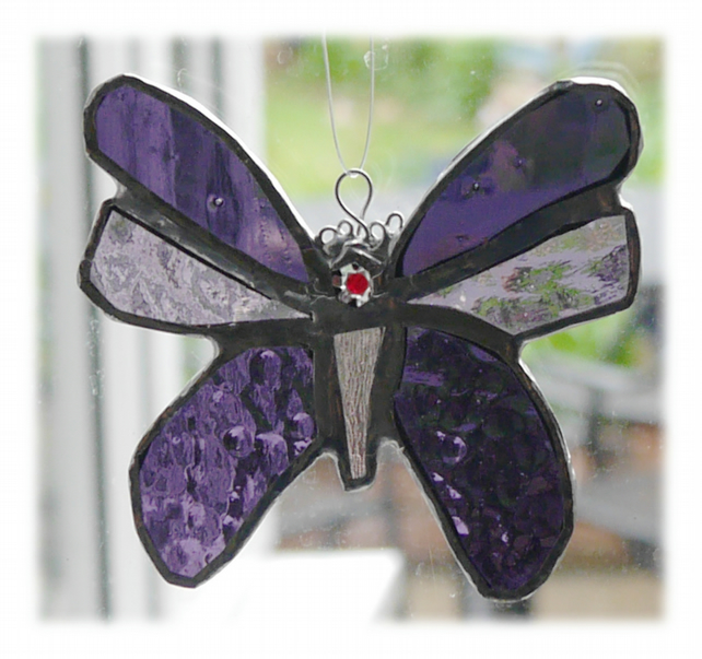 Butterfly Stained Glass Suncatcher Purple 055