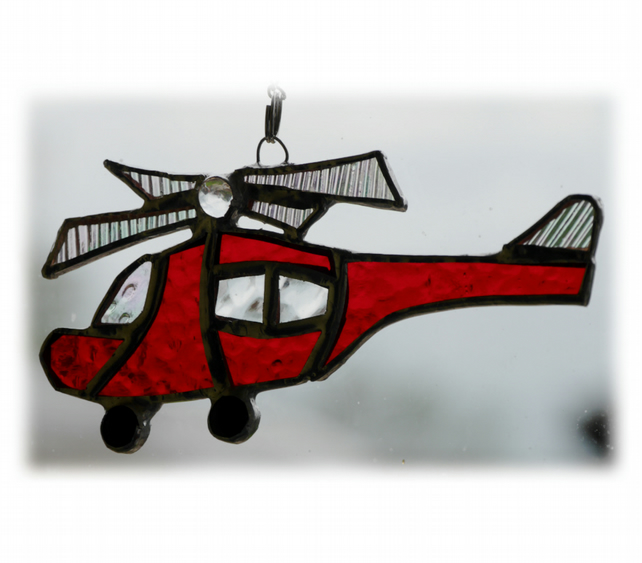 Helicopter Suncatcher Stained Glass Red Rescue