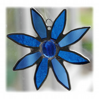 Blue Daisy Stained Glass Suncatcher