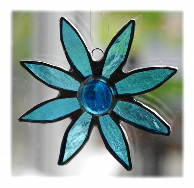 Turquoise Daisy Stained Glass Suncatcher