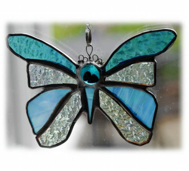 Birthstone Butterfly Suncatcher Stained Glass Turquoise December