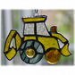 Digger Suncatcher Stained Glass British JCB Yellow 007