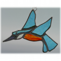 Kingfisher Suncatcher Stained Glass British Bird Handmade 046