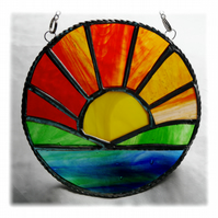 Sunrise Picture Stained Glass Suncatcher Handmade Sun Ring 025