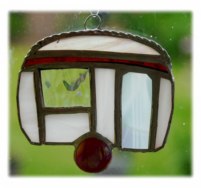 Caravan Suncatcher Stained Glass Mini Red 023
