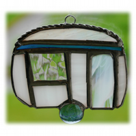 RESERVED  - Caravan Suncatcher Stained Glass Mini Blue 024