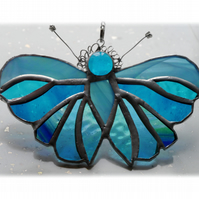 Teal Butterfly Suncatcher Stained Glass Handmade Turquoise 083