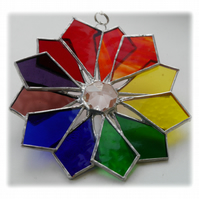 Rainbow Windmill Stained Glass Suncatcher Abstract 003