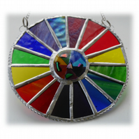 Summer Solstice Rainbow Burst Suncatcher Stained Glass Handmade 023