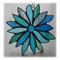 Sea Blue Flower Stained Glass Suncatcher 012