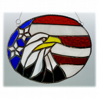 Bald Eagle American Flag Suncatcher Stained Glass Handmade