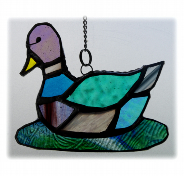 Duck Suncatcher Stained Glass Mallard Quack  023