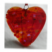 Love Heart Red Fused Glass Suncatcher 007 9cm Dichroic