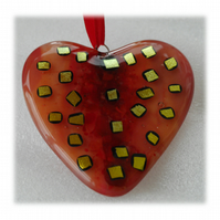 Love Heart Red Fused Glass Suncatcher 008 9cm Dichroic