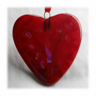 Love Heart Red Fused Glass Suncatcher 010 9cm Dichroic