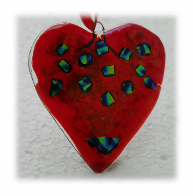 Love Heart Red Fused Glass Suncatcher 009 9cm Dichroic