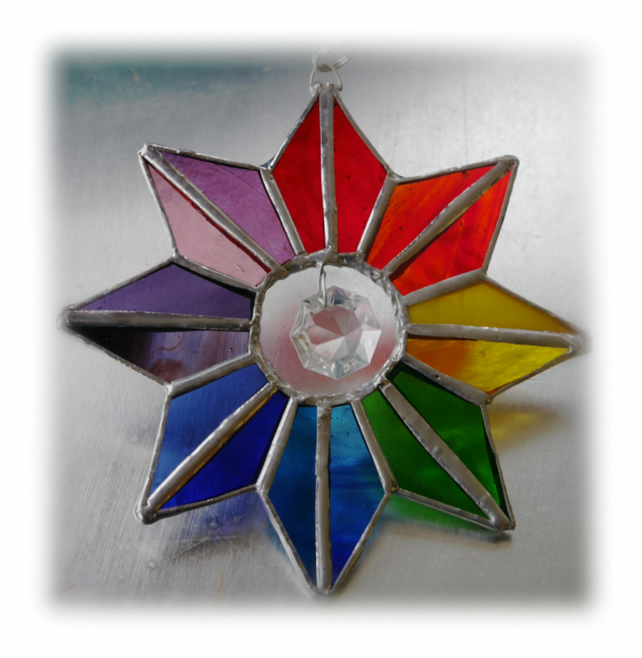 Star Rainbow Crystal Stained Glass Suncatcher 004