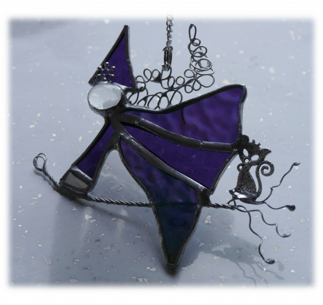 Witch on Broomstick Suncatcher Stained Glass 040 Purple