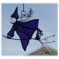 Witch on Broomstick Suncatcher Stained Glass 041 Purple