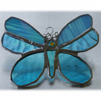 Butterfly Stained Glass Suncatcher Turquoise 058