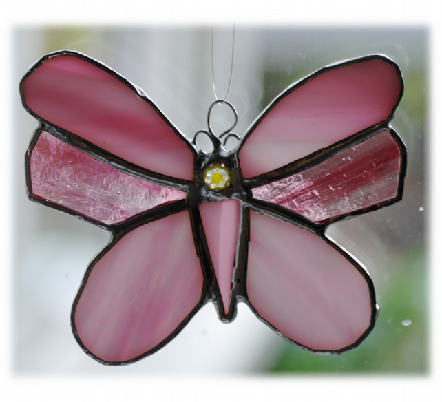 Butterfly Stained Glass Suncatcher Pink 057