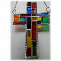 Cross Suncatcher Stained Glass  Patchwork Rainbow Handmade 024