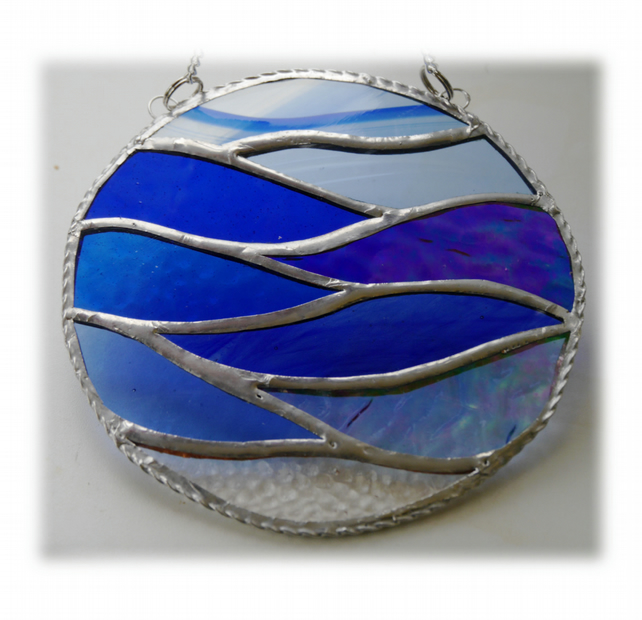 Making Waves Stained Glass Suncatcher Handmade Ring Sea 010