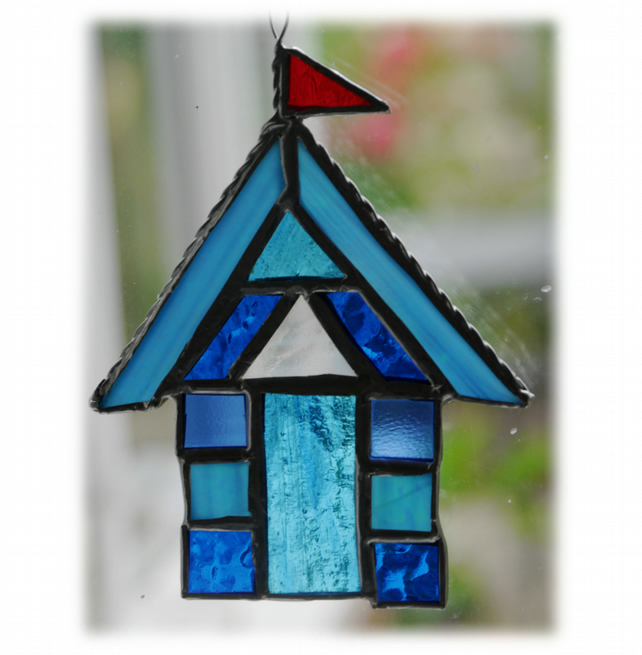 Beach Hut Suncatcher Stained Glass Aqua 012
