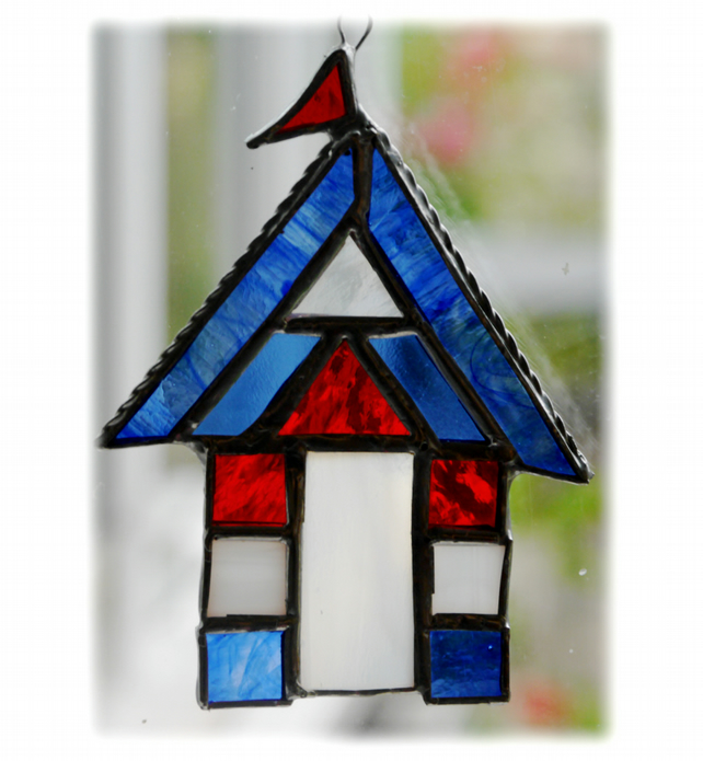 Beach Hut Suncatcher Stained Glass Blue 013