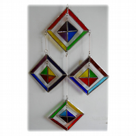 Rainbow Mobile Stained Glass Suncatcher 4-Square