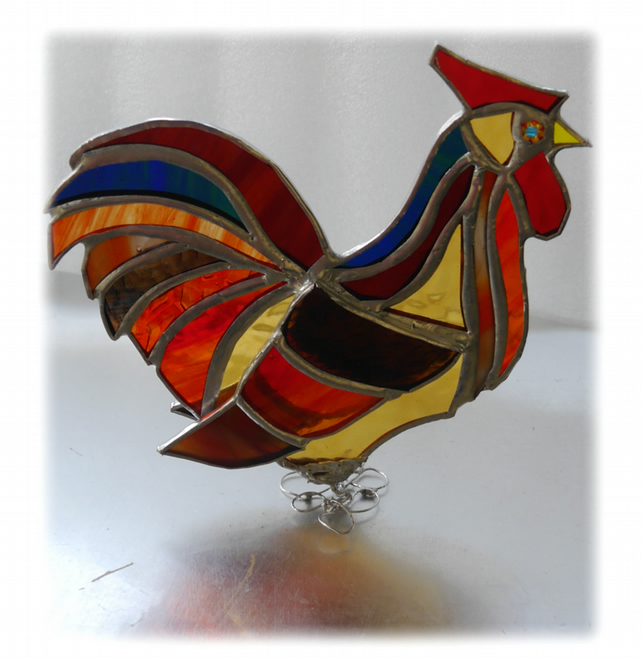 Rooster Stained Glass Ornament Cockerel Richard lX